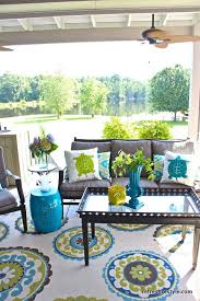 Outdoor Patio Fabric How To Refresh Your Porch Blue Fabric Turtle And Pillows