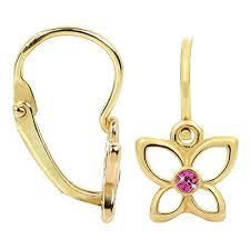 cercei din aur brilio cercei din aur pentru copii fluture purpuriu 236 001 00986
