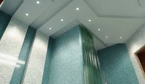 ceiling cool bathroom with wall sinks and porcelain bathtub also
