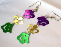 mardi gras earrings comedy tragedy masks fleur de lis dangles