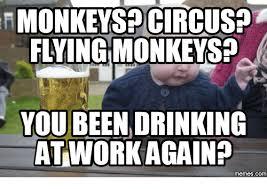 Flying Monkeys Meme - monkespocircusp flying monkeys you been drinking att workagainp