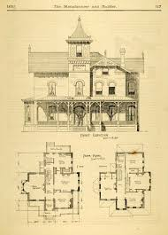 Blue Prints House by 1873 Print House Home Architectural Design Floor Plans Victorian