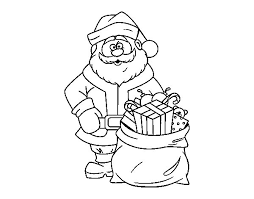 santa claus bag gifts coloring coloringcrew