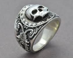 mens skull wedding rings mens skull ring etsy