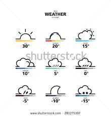 design illustration weather widget icons style stock vector