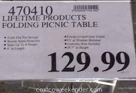 Lifetime Folding Picnic Table Lifetime Products Folding Picnic Table Costco Weekender