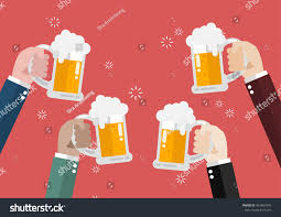 clinking glasses emoji people clinking beer glasses concept cheering stock vector