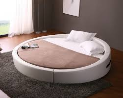 modern white leather round platform bed