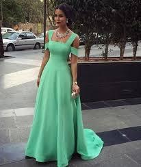 a line v neck light blue prom dress with slit light blue formal