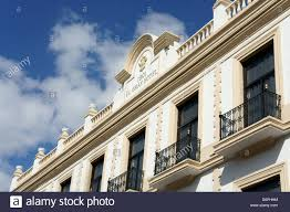 facade of the gran hotel in downtown merida yucatan mexico stock