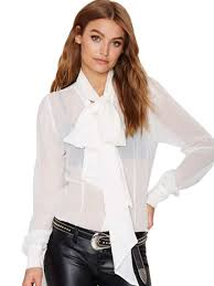 bow tie blouse see through sheer sleeve top big bow bow tie blouse