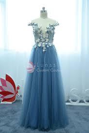 fairytale 3d floral embellished pool blue tulle cap sleeve a line