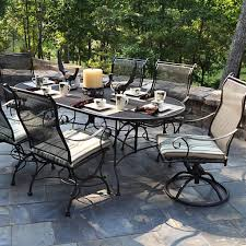Wrought Iron Patio Furniture Set by Outdoor U0026 Garden Solid Wood Outdoor Patio Dining Set With Square