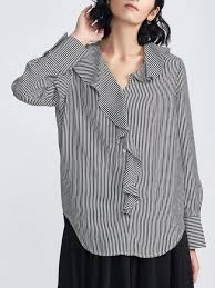 ruffled blouse black white v neck high low casual stripes ruffled blouse