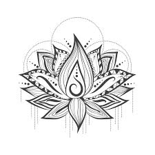 abstract tattoo logo design of lotus flower stock vector image