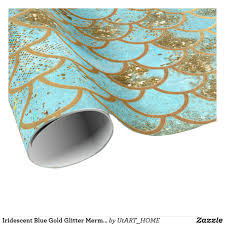 iridescent wrapping paper iridescent blue gold glitter mermaid fish scales wrapping paper