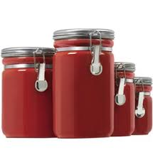 Red Glass Kitchen Canisters by Stackable Glass Kitchen Canisters In Kitchen Canisters