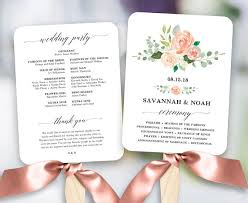 wedding programs fan blush floral wedding program fan template printable fan