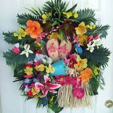 tropical floral wreath luau wreath door wreath summer wreath