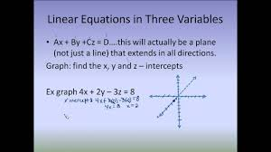 graphing linear equations in three variables youtube