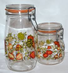 Glass Kitchen Canister 1970s Set Of 2 Glass Kitchen Canister Jars France From
