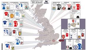 A Map Of England by Premier League Map Of England London Map