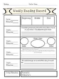 weekly reading record with comprehension activities for each night