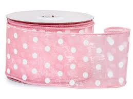 pink polka dot ribbon pink w white polka dots ribbon 2 1 2 x25 yds wired 100 52905