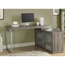 l shaped computer desk canada emerson dark taupe l shaped desk with frosted glass