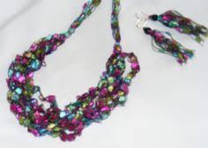 trellis ladder yarn necklace instructions making trellis yarn jewelry ribbon necklace crochet and yarns