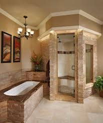 traditional bathrooms ideas stone steam walk in shower with excellent built in tub for