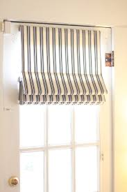 black and white striped roman shade for single french door