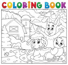 farm animal coloring book coloring book happy animals near farm u2014 stock vector clairev