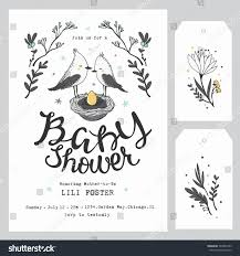 baby shower invitation template hand lettering stock vector
