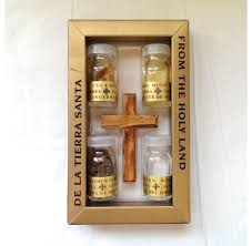 holy land gifts 5 gifts in one olive wood cross with 4 holy land elements soil