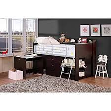 amazon com loft bed with desk and storage espresso twin size boys