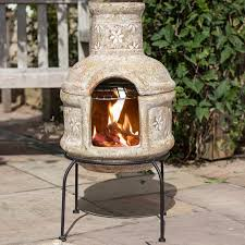 Extra Large Clay Chiminea La Hacienda Star Flower With Grill Clay Chiminea Small 75cm