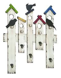 white distressed picket fence bird wall art hook rack hanger