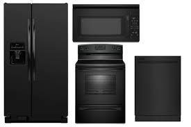 Best Deal On Kitchen Appliance Packages - appliance package in black amana side by side refrigerator