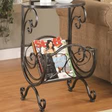 Wood And Metal End Table Metal End Tables With Glass Top Foter