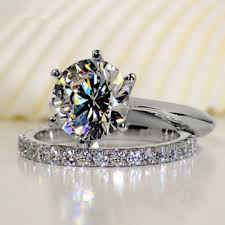 engagement rings sets luxury quality 2 carat sona synthetic wedding ring set