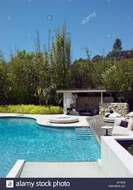 swimming pool of ranch house los angeles california usa stock