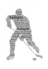 hockey player word art personalised hockey print gift idea