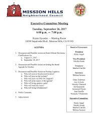 executive committee agenda 9 26 17 mission hills neighborhood