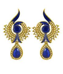 dangler earrings donna traditional ethnic blue peacock dangler earring with