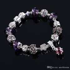 bracelet color crystal images Crystal bead carved bracelet sliver plated snake chain charm jpg