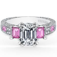 sapphire emerald cut engagement rings kirk kara engraved pink sapphire engagement ring