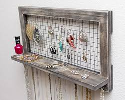 earring necklace organizer images Large rustic wooden wall mount jewelry organizer for earrings jpg