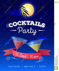 vector cocktails party poster with night beach landscape moon