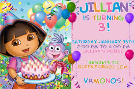 Invitation Party Card Interesting 3rd Birthday Party Invitation Card With Dora The